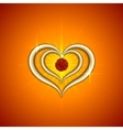 abstract bright red background with golden hearts vector image vector image