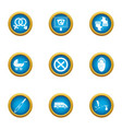 ancestral icons set flat style vector image