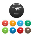baryonyx icons set color vector image vector image