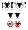 Beef icons vector image