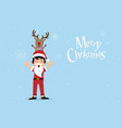 boy dressed up like santa claus and reindeer vector image vector image