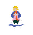 boys playing with paper boat in water puddle kids vector image vector image