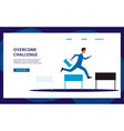 businessman jumping over obstacles flat cartoon vector image