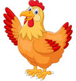 chicken hen waving hand on white background vector image vector image
