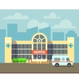 city hospital building in flat design style vector image