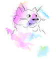 cute cat watercolor style vector image vector image