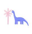 cute dinosaur eating leaves diplodocus chewing vector image