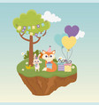 cute rabbit and fox with hat gifts celebration vector image vector image
