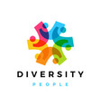 diversity people overlapping color logo icon vector image vector image