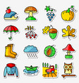 fall season icons stickers set web pictograms vector image vector image