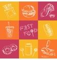 fast food set sketches vintage vector image vector image
