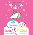 fun childish unicorn event flyer vector image