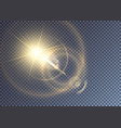 glimmering golden sun with lens flare vector image vector image
