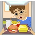 hands giving tray with fast food meals vector image vector image