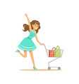 happy woman in a blue dress running with shopping vector image vector image