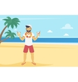 Happy young man enjoy on the beach and drinking vector image vector image