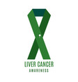 liver cancer awareness ribbon with a pin vector image vector image