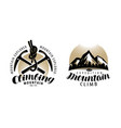 mountaineering climbing logo or label expedition vector image vector image