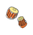 musical instrument drum hand drawn icon vector image