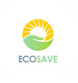 nature save care sun logo vector image