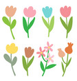 paper trendy flat flower set vector image