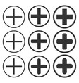 plus add zoom icon shape button set vector image vector image