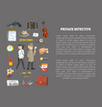 private detective banner template with place for vector image vector image