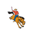 Rodeo Cowboy Riding Bucking Bronco Cartoon vector image vector image