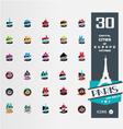 set 30 capital citiy silhouettes vector image