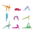 set of color yoga silhouette vector image