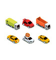 set of different isometric vehicles pizza vector image vector image