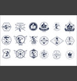 set of vintage fishing camp logo or vector image vector image