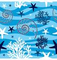 Shells and starfish seamless pattern vector image vector image
