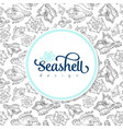 sketch seashell card template background vector image