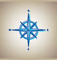 wind rose sign sky blue icon with vector image vector image