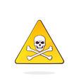 yellow danger symbol with skull and crossbones vector image vector image