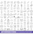 100 worker icons set outline style vector image vector image