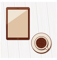 a cup of coffee and blank tablet computer vector image vector image