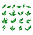 abstract green leaf isolated icons design set vector image vector image