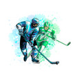 abstract hockey player from splash watercolors vector image vector image