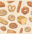 bakery hand drawn seamless pattern background vector image