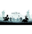 black silhouette of battle orcs and humans vector image vector image