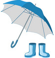 blue rubber boots umbrella vector image