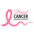 breast cancer awareness month banner vector image vector image