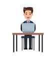 business man sitting working laptop desk vector image vector image