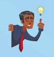 businessman male dark skin with bulb idea vector image vector image
