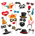 carnival photo booth party icon set vector image vector image