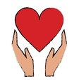 cartoon hands holds heart love care vector image