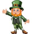 Cartoon happy leprechaun waving hand vector image vector image