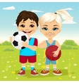 children holding a soccer ball and basketball vector image